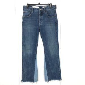 Pilcro and the Letterpress Jeans - ANTHRO PILCRO TWO TONE HIGH RISE FLARE JEANS 27